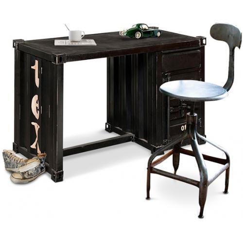 vintage industrial schreibtisch stahl schublade und fach. Black Bedroom Furniture Sets. Home Design Ideas