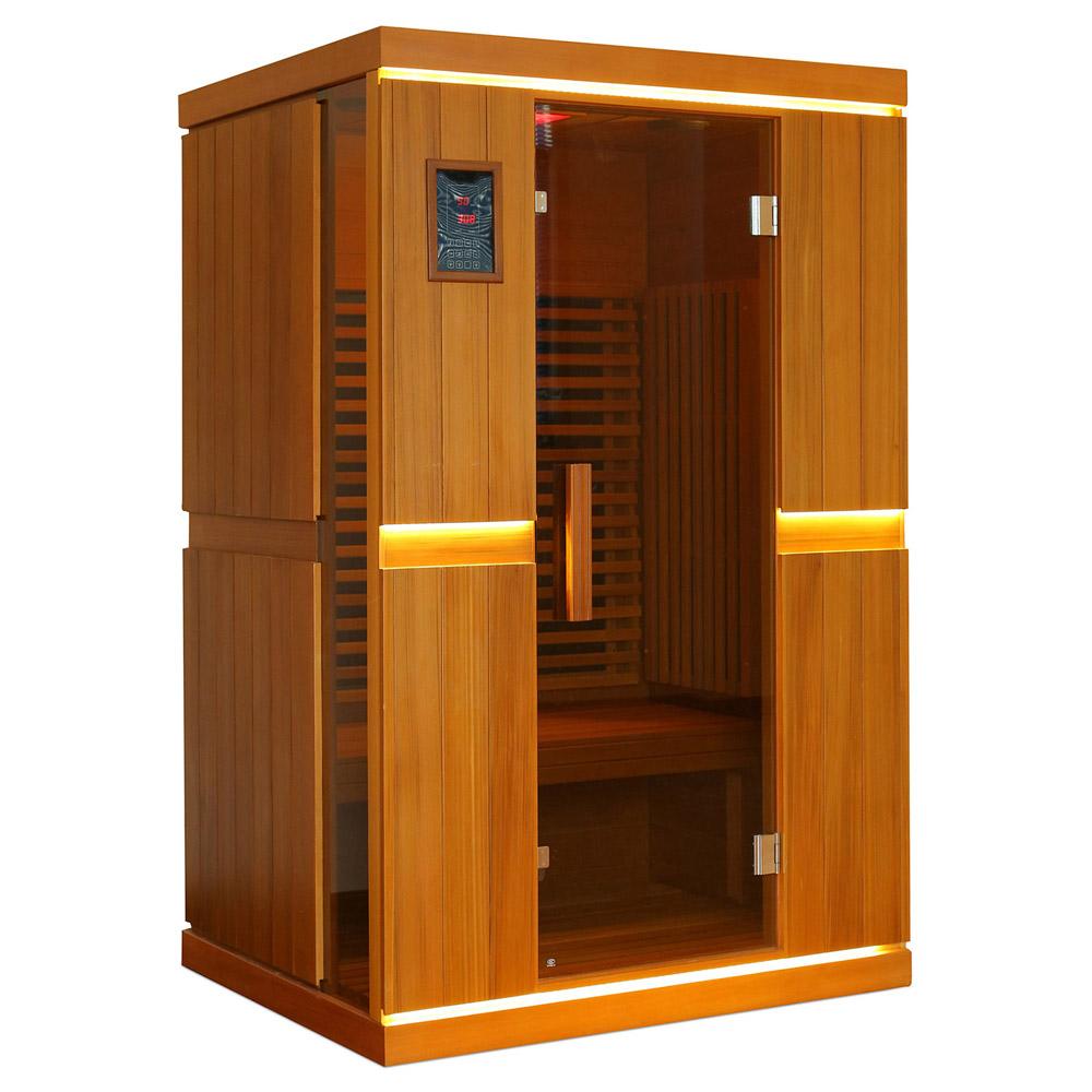 infrarot sauna f r 2 personen naturholz. Black Bedroom Furniture Sets. Home Design Ideas