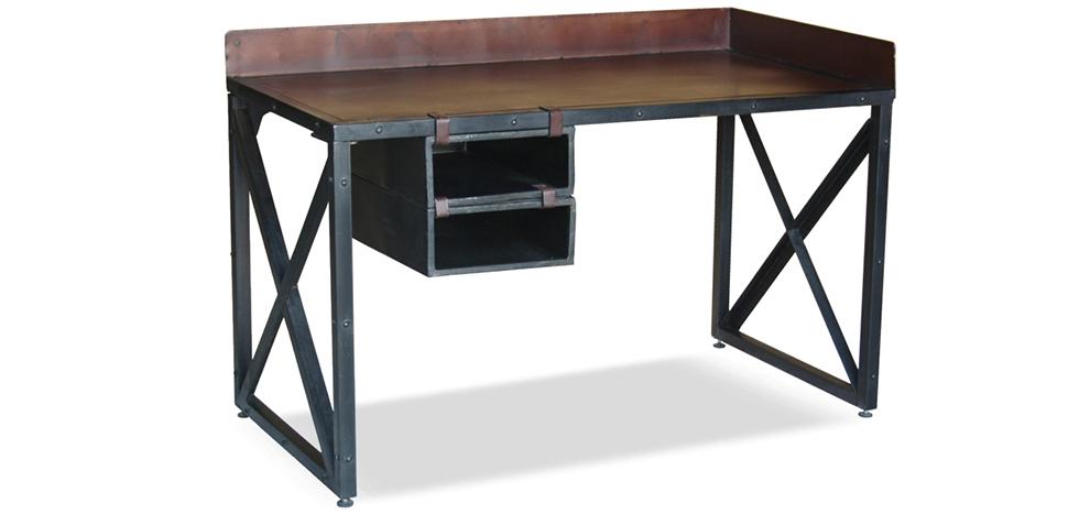 Vintage industrial schreibtisch stahl for Schreibtisch vor heizung
