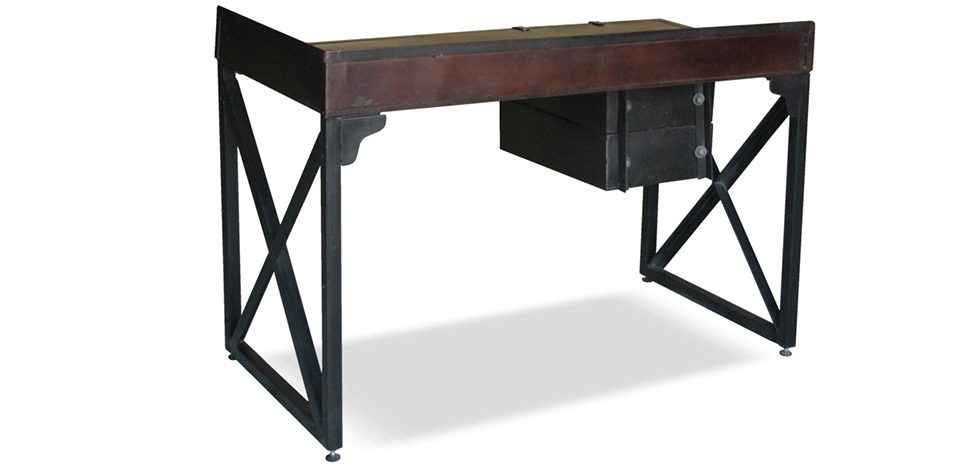 vintage industrial schreibtisch stahl. Black Bedroom Furniture Sets. Home Design Ideas