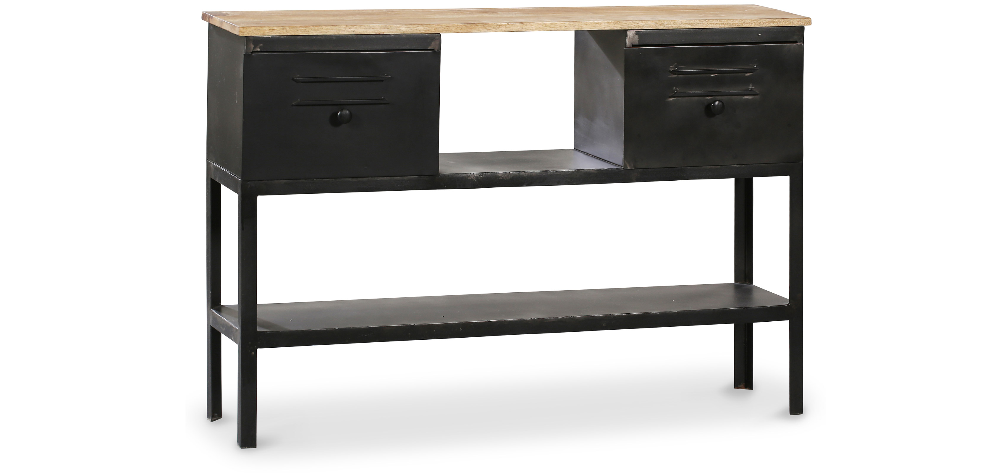 industrial konsolentisch 2 schubladen metall. Black Bedroom Furniture Sets. Home Design Ideas